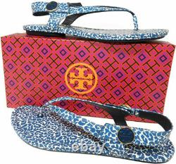 Tory Burch MINNIE Travel Thongs Sandals Tory Navy Clouded Ballet Shoes 9.5