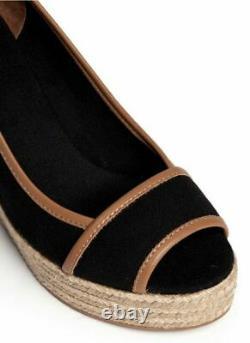 Tory Burch Majorca Wedge Sandals Peep Toe Shoes Black US Size 8 / UK Size 6