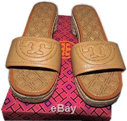 Tory Burch Marion Beige Quilted Espadrille Slides Mules Sandal Shoes 9 Clogs