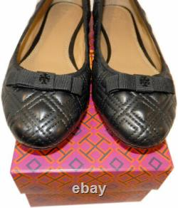 Tory Burch Marion Quilted Ballet Flats Black Leather Bow Ballerina Shoes 8 38