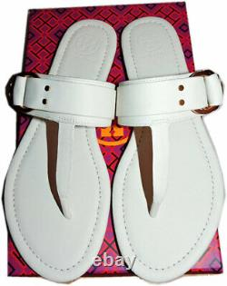 Tory Burch Marsden Flat Thongs Sandals Ivory leather Shoe Flip Flops 7.5 T Strap