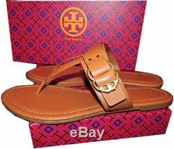 Tory Burch Marsden Flat Thongs Sandals Tan Leather Shoe Flip Flops 10 T Strap
