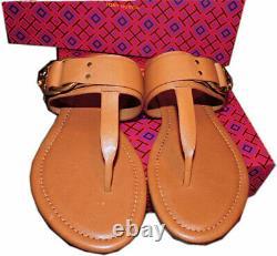 Tory Burch Marsden Flat Thongs Sandals Tan Leather Shoe Flip Flops 8.5 T Strap