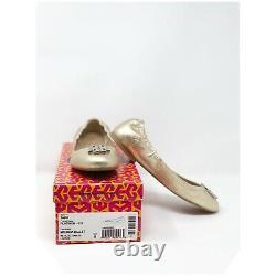 Tory Burch Melinda Logo Ballet Flat Shoe In Metallic Platinum Leather Size 9
