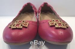 Tory Burch Melinda Pink Tumbled Leather Flats Sz 7 M