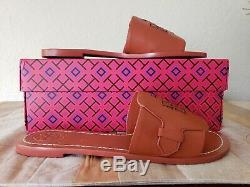 Tory Burch Melinda Slide Sandal Veg Leather Desert Spice Tan Size 8 NWB