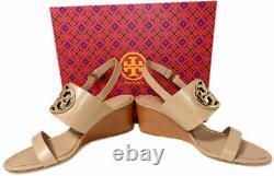 Tory Burch Metal Miller Light Makeup Wedge Sandals Shoes Slides Clogs 10 40