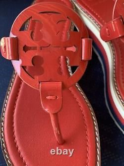 Tory Burch Miller 60mm Platform Logo Wedge Sandal/shoe Red Patent Leather Sz 9m