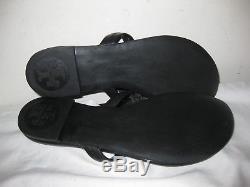 Tory Burch Miller Black Leather Flip Flop Sandals Size 7 M