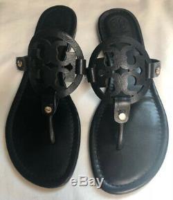 Tory Burch Miller Black Leather Flip Flop Sandals Womens Size 9