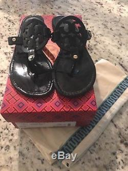 Tory Burch Miller Black Leather Thong Sandal Flip Flop 9 Retail