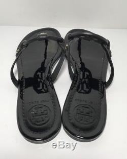 Tory Burch Miller Black Patent Leather Flip Flop Sandals Womens Size 8.5 M