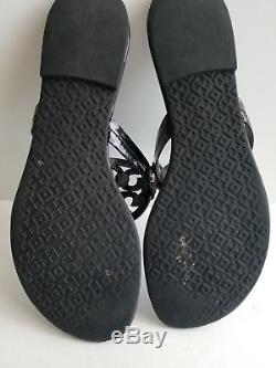 Tory Burch Miller Black Patent Leather Thongs Slides Sandals Size 8M