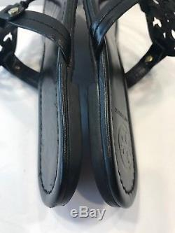 Tory Burch Miller Black Smooth Leather Thong Sandals Sz 7 M