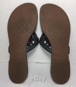 Tory Burch Miller Dark Grey Leather Flip Flop Sandals Size 8M