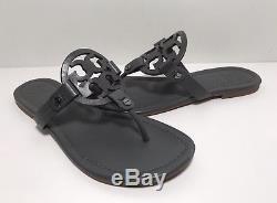 Tory Burch'Miller' Dark Grey Leather Flip Flop Sandals Women's Size 7 M