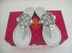 Tory Burch Miller Embellished Sandals Silver Leather Sz 7.5 New W Box FREE SHIP