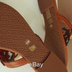 Tory Burch Miller Flat embroidered Medallion Sandals-Vintage Vachetta -Size 9.5