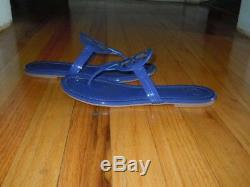 Tory Burch Miller Flip Flop Patent Leather Sandal Bright Indigo Nwob Sz 7.5m