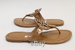 Tory Burch'Miller' Flip Flop Patent Leather Sandal Slipper 6.5 Camel Beige Tan