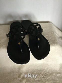 Tory Burch Miller Flip Flops Black Leather Size 10M