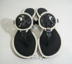Tory Burch Miller Fringe Logo Sandals Thong Black White 7 New W Box FREE SHIP