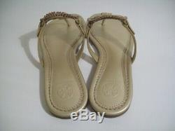 Tory Burch Miller Fringe Logo Sandals Thong Platinum 7 New W Box FREE SHIP