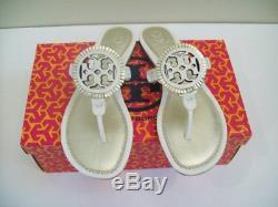 Tory Burch Miller Fringe Logo Sandals Thong White Spark Gold Size 9 New In Box