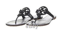Tory Burch Miller Leather Matte Womens Sandals Flip Flops Black Size 9
