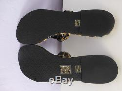 Tory Burch Miller Leopard Patent Leather Flat Thong Sandal Size 9.5 #40173 New