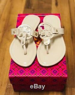 Tory Burch Miller Light Beige Patent Leather Flip Flop Sandals Size 8 shoes Mint