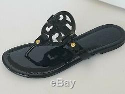 Tory Burch Miller Logo Flat Sandal, Black Size 6 2/1