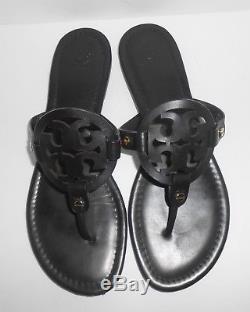 Tory Burch Miller Logo Leather Sandals Black Size 10