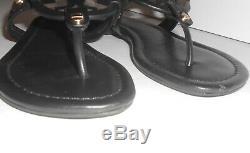Tory Burch Miller Logo Leather Sandals Black Size 6