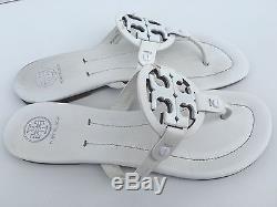 Tory Burch Miller Logo Thong Flip Flops Sandals Flats Size 9.5 Ivory