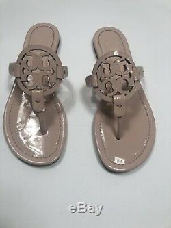 Tory Burch Miller Medallion Patent Leather Sandals Size 8 Sea Shell Pink