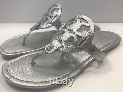Tory Burch Miller Metallic Silver Tumbled Leather Thongs Sandals Sz 9 1/2 9.5 M