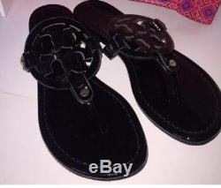 Tory Burch Miller Patent Black Leather Sandal Size 8M Womens