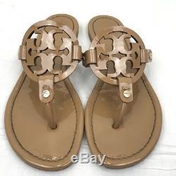 Tory Burch Miller Sand Patent Leather Flip Flop Sandals Size 6M