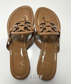 Tory Burch Miller Sand Patent Leather Flip Flop Sandals Womens Size 6.5 M
