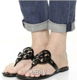 Tory Burch Miller Sandals Black Patent Leather Shoes Size 8 M-new With Box