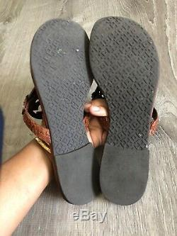 Tory Burch Miller Sandals Cognac Brown Vachetta Leather, size 7.5 Snake