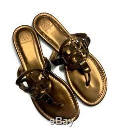 Tory Burch Miller Sandals Flip Flops Shoes Metallic Bronze Leather Size 10.5