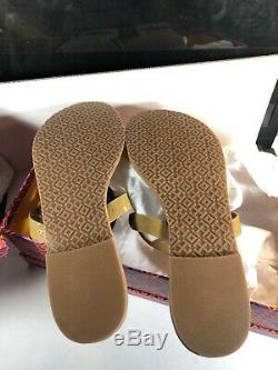 Tory Burch Miller Sandals Patent Leather Sand/ Nude Color Size 8 M /