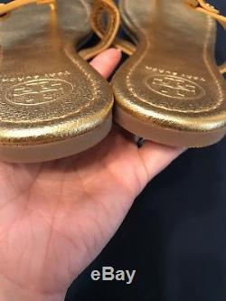 Tory Burch Miller Sandals Sz 10 Gold Pebbled Leather