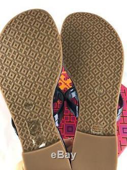 Tory Burch Miller Sandals Thong Flip Flop Mirror Metallic Blue 7.5