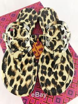 Tory Burch Miller Sandals Thong Flip Flop Patent Leather Leopard 7.5