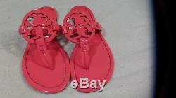 Tory Burch Miller Sandals Thong Flip Flop Patent Leather Neon Pink 10 Fuchsia