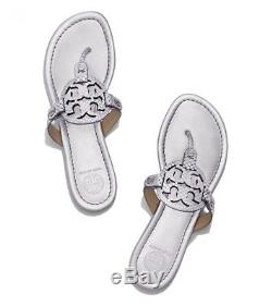 Tory Burch Miller Snake Print Silver Leather Sandals Women's Size 11 M