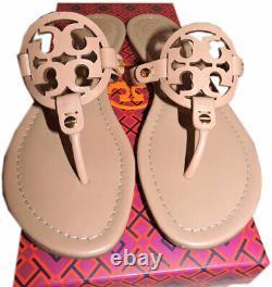Tory Burch Miller Thongs Beige Leather Sandals Shoes Flip Flops 10 Slides Mules